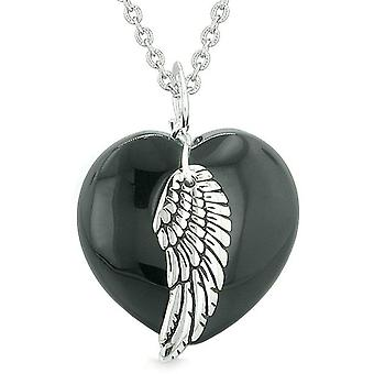 Guardian Angel Wing Inspirational Amulet Magic Puffy Heart Black Agate Pendant 18 inch Necklace