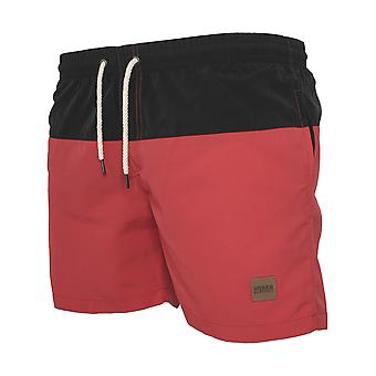URBAN CLASSICS men's swim shorts swimwear black/red