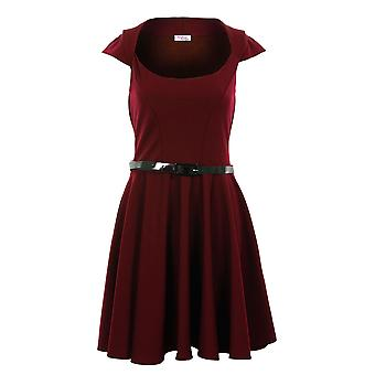 Pattinatrice Cap Sleeve Belted Flare vino rosso nero blu Navy Dress Womens nudo