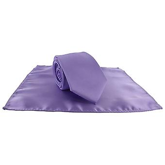 Michelsons of London Silm Satin Polyester Pocket Square and Tie Set - Lilac