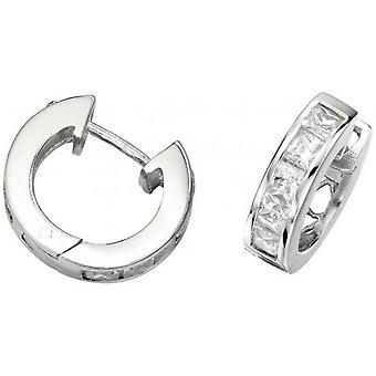 Beginnings Cubic Zirconia Square Stones Hoop Earrings - Silver/Clear
