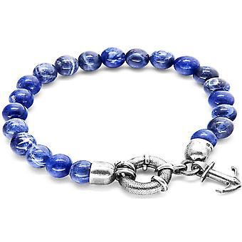 Anchor and Crew Port Silver and Sodalite Stone Bracelet - Blue/Silver