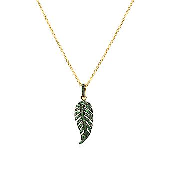 Large Tsavorite Pendant Necklace Leaf Feather Gold Green Jewellery Carat 925