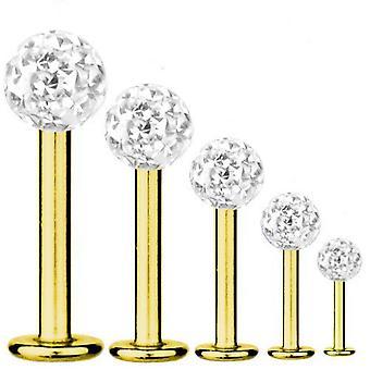 Labret Baari korvankansi lävistyksiä kultaa kullattu Titanium 1,2 mm, Multi Crystal Ball White | 5-12 mm