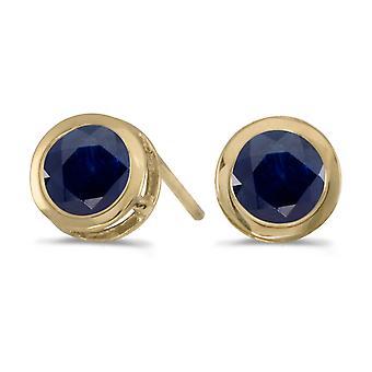 14k Yellow Gold Round Sapphire Bezel Stud Earrings