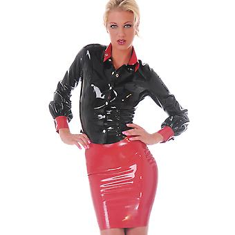 Honour Women's Sexy Pencil Skirt in Latex Black Secretary Style Outfit Tight Fit