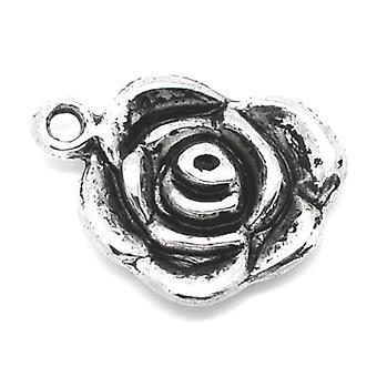 Pakket 10 x antieke zilveren Tibetaans 17mm Rose/hanger ZX03260