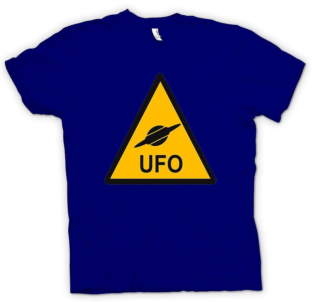 Hombres camiseta - señal de advertencia de UFO - niños divertidos