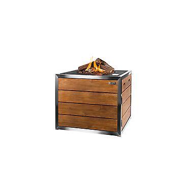 Happy Cocooning rustfrit stål udendørs pejs 76x76xH76 square, 5 cm-sort