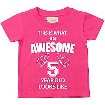 This is What An Awesome 5 Year Old Looks Like Pink Tshirt