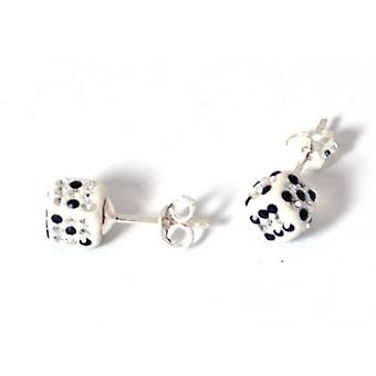 Toc Sterling Silver Crystal Encrusted White Dice Stud Earrings