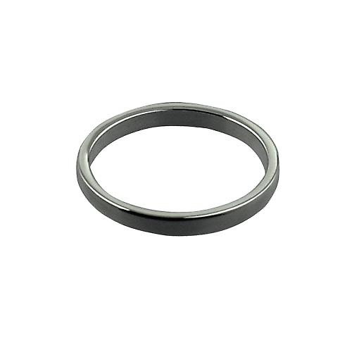 18ct White Gold 2mm plain flat Wedding Ring Size P