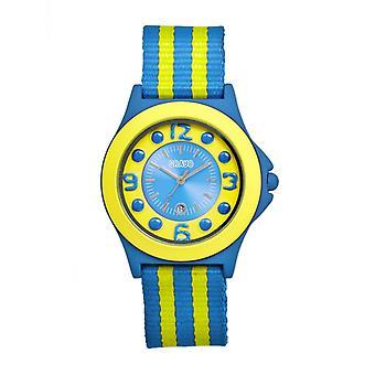 Crayo Carnival Nylon-Band Unisex Watch w/Date - Cerulean/Yellow