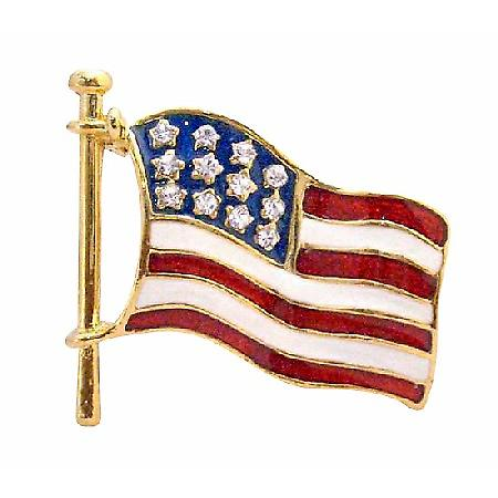 Hand Painted Flag Brooch Sparkling Diamante Stars on Flag Brooch