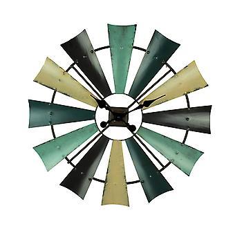 Rustic Colored Metal Farmhouse Windmill Wall Clock