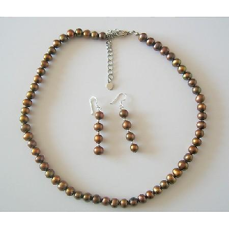 Brown Metallic Round Freshwater Pearl Necklace Set Custom Handcrafted Jewelry