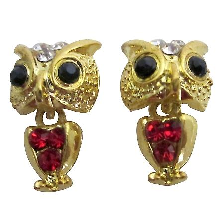 Golden Owl Dangling Body Earrings
