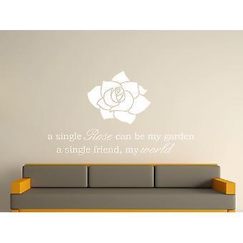 Eine einzelne Rose Kunst Wandaufkleber - White
