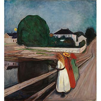 Jenter på en bro, Edvard Munch, 50x46cm