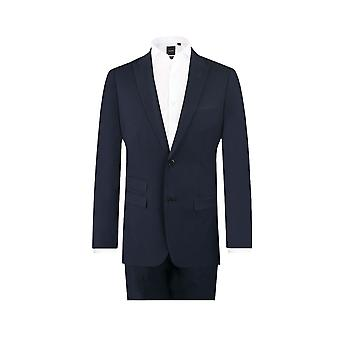 Dobell Mens marinblå resor/prestanda 2 Piece Suit Slim Fit Peak kavajslag