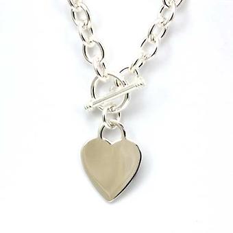 The Olivia collection 925 Silver 49-50gr Chunky Heart Charm T-Bar Necklace