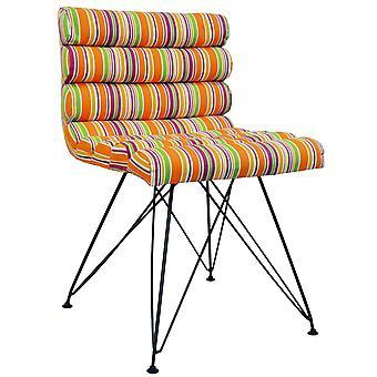 Retro - Bright Stripe Eames Inspired Metal Leg Padded Chair - Orange / Pink