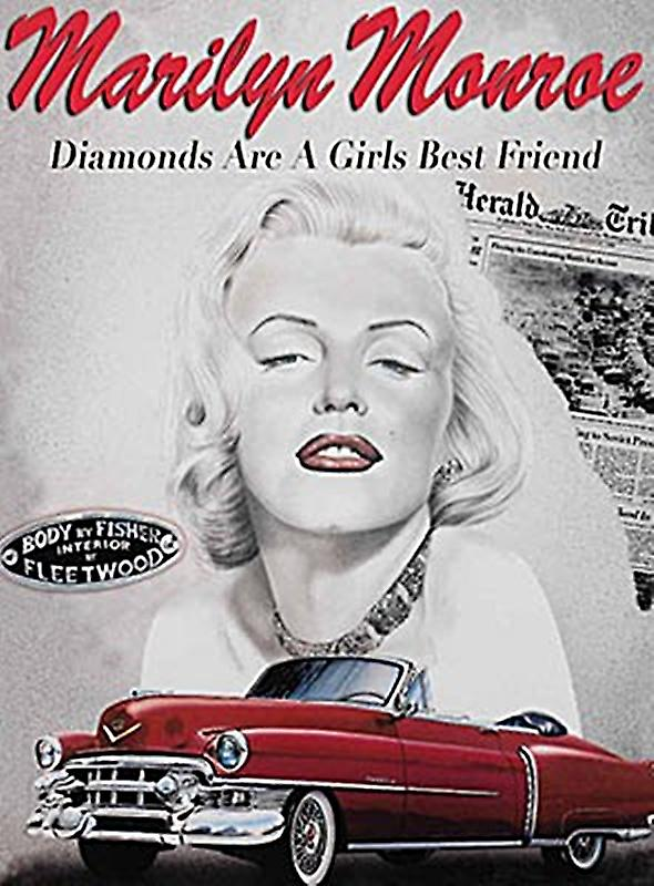 Marilyn Monroe Diamonds Are A Girl's Best Friend small steel sign 200mm x 150mm  (og)