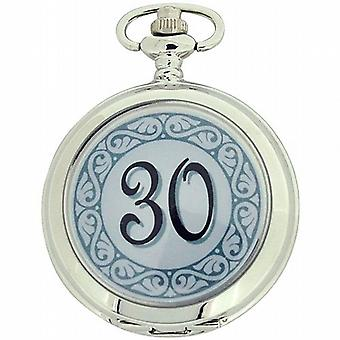Boxx « Happy Birthday 30 » blanc cadran Gents Pocket Watch 12 pouces chaîne Boxx313