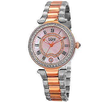 Burgi Women's Quartz  Mother of Pearl Stainless Steel Two-Tone Bracelet Watch BUR165TTR