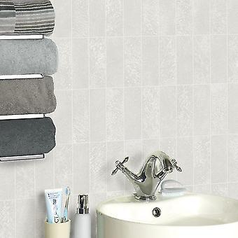 Stone Tile Pattern Wallpaper Metallic Glitter Kitchen Bathroom Embossed Vinyl