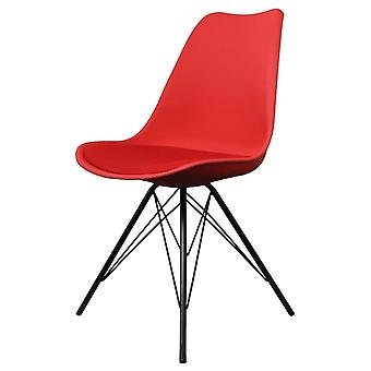 Fusion Living Eiffel Inspired Red Plastic Dining Chair With Black Metal Legs