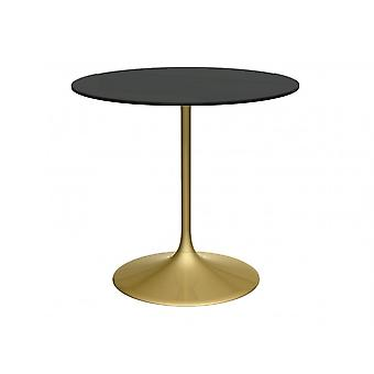 Gillmore Space Pedestal Medium Dining Table Black Glass And Brass