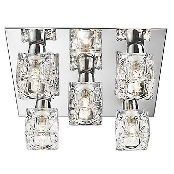 Cubo de hielo LED cromo y vidrio luz de cinco Flush Fitting - reflector 2275-5-LED