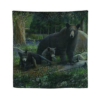 em 70. Cortina de chuveiro de tecido rústico família urso-negro