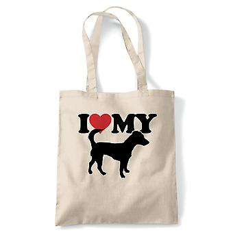 I Love My Jack Russell Tote - France Dog Gift Fur Baby Lover Propriétaire Mans Best Friend (fr) Reusable Shopping Cotton Canvas Long Handled Natural Shopper Eco-Friendly Mode