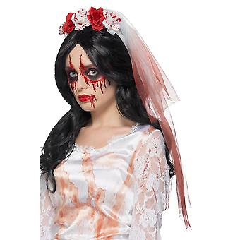 Blood Drip Veil White, Halloween Fancy Dress Accessories, One Size