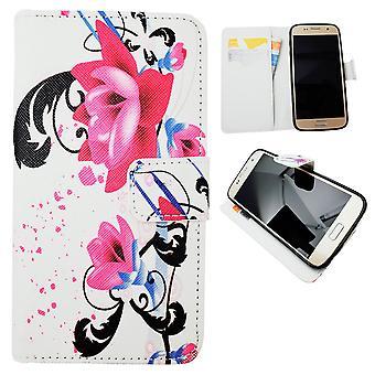 Samsung Galaxy S7-cases/portefeuille en cuir-fleurs