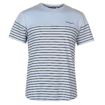 Pierre Cardin Mens Dropped Hem Striped Tee Crew Neck T-Shirt T Shirt Top