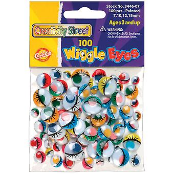 Paste On Wiggle Eyes Assorted 7Mm To 15Mm 100 Pkg Painted 3446 07