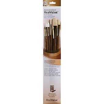 Véritable valeur Brush Set naturel Sable Rnd 2, Flat 4, Flb 4, Rnd 6, Flb 12 Brt 8 P9148