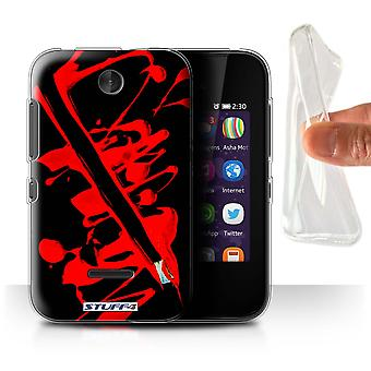 STUFF4 Gel/TPU Case/Cover for Nokia Asha 230/Red/Brush/Paint Splatter