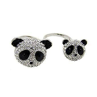 Butler and Wilson Crystal Panda Heads Adjustable Double Ring