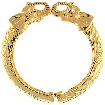 Doppio elefante testa braccialetto placcato oro di Kenneth Jay Lane