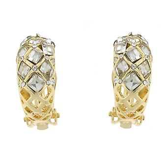 Clip On Earrings Store Gold & Clear Diamante Crystal Filigree Semi Hoop Clip On Earrings