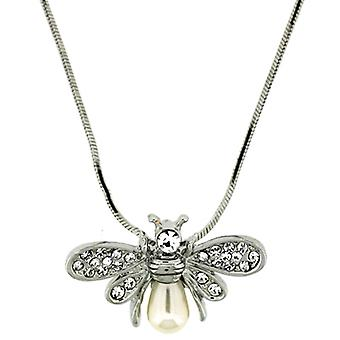Swarovski Crystal and Silver Plated Small Bee Pendant and Earrings Set