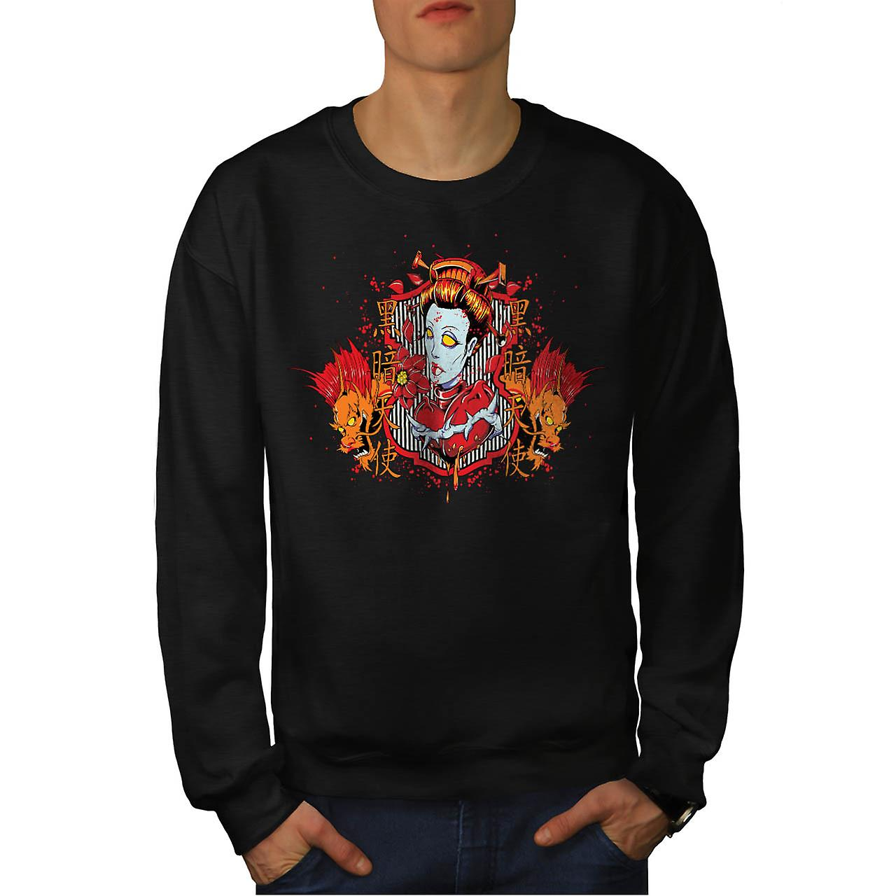 Dragon Monster Zombie Devil Woman Men Black Sweatshirt | Wellcoda