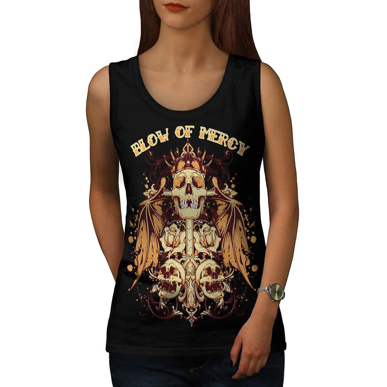 Blow Of Mercy Skull Tomb Stone Women Black Tank Top | Wellcoda