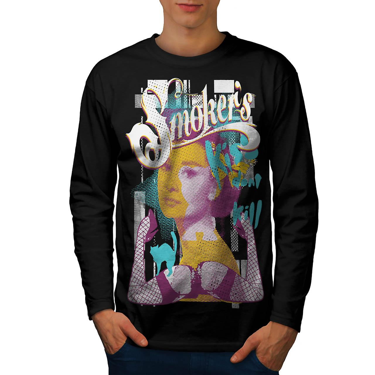 Smoker Kiss Dont Kill Audrey Leg Men Black Long Sleeve T-shirt | Wellcoda