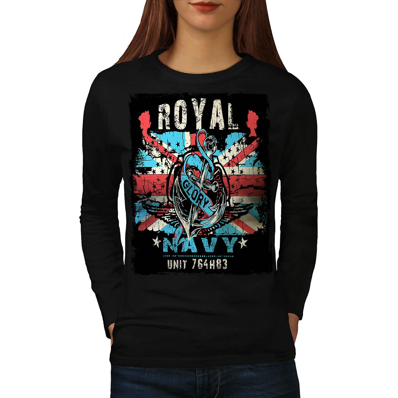 Royal Navy Glory UK Women Black Long Sleeve T-shirt | Wellcoda