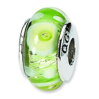 Ster. Silver Reflections Green White Murano Glass Bead Charm